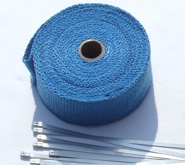 Auspuff Hitzeschutzband blau Keramik 10 Meter + 10 Kabelbinder