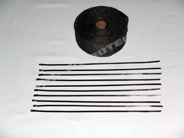 Auspuff Hitzeschutzband schwarz Keramik 10 Meter + 10 Kabelbinder